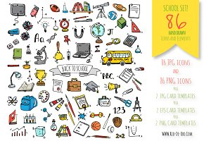 Back to school! 86 hand drawn icons!