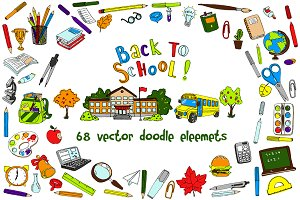back to school doodle vector elemens
