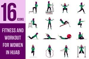 Vector set. Workout for muslim women