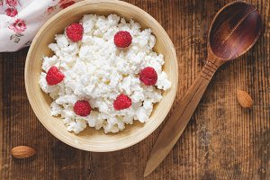 Cottage cheese and yogurt breakfast