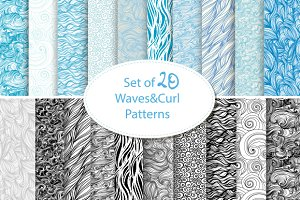 seamless waves and curls backgrounds