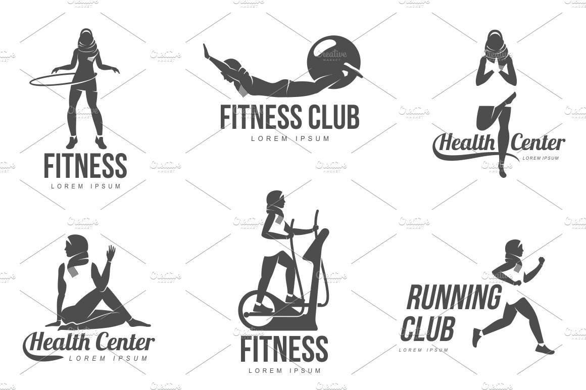 Muslim woman fitness logo ~ Icons ~ Creative Market