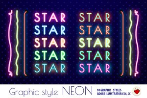NEON Retro Graphic Styles (AI) 1