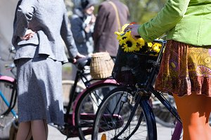 Woman on bicycle in the spring
