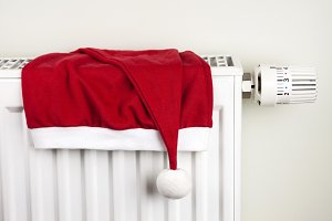 Christmas hat and radiator