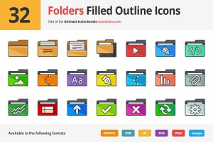32 Folders Filled Outline Icons