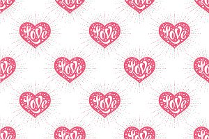 Heart and lettering Love. Pattern