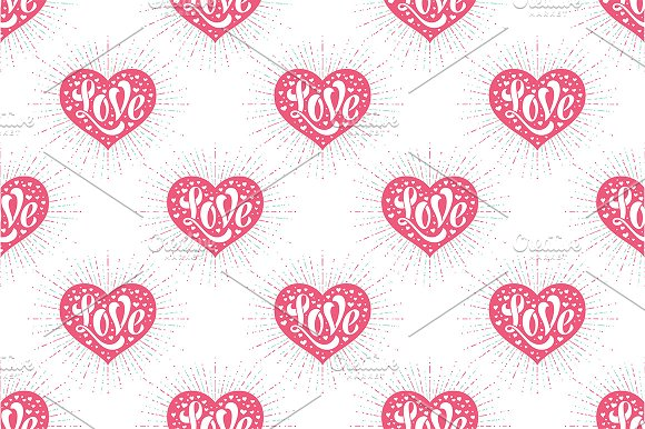 Heart and lettering Love. Pattern - Patterns