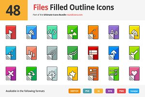 48 Files Filled Outline Icons