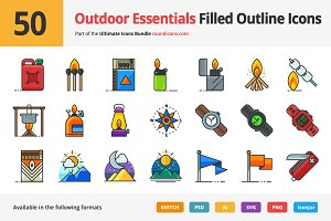 50 Outdoor Essentials Filled Icons