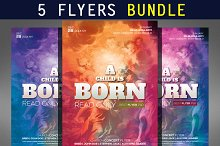 5 Hipster Party Flyers Bundle