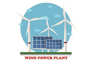 Wind and solar power plants