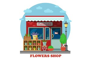 Flower shop or store side