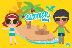 Digital Clipart Summer Time