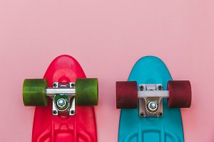 Red and Blue Skateboards