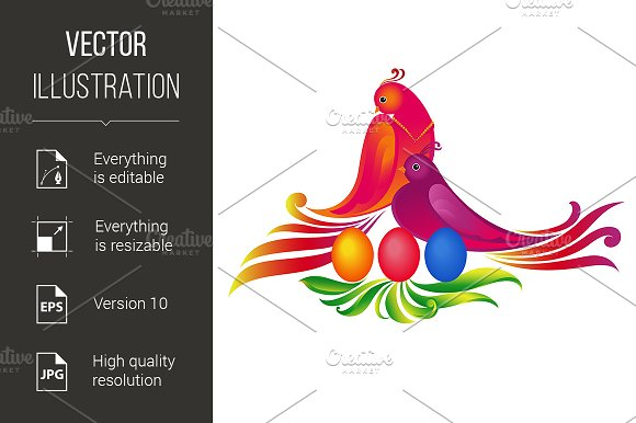 Easter eggs, and birds. Illustration - Graphics