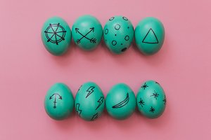 mint eggs with marker