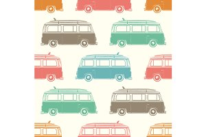Retro camper van seamless pattern.