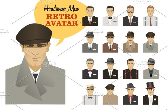 Fashion Men. Retro Avatar - Illustrations