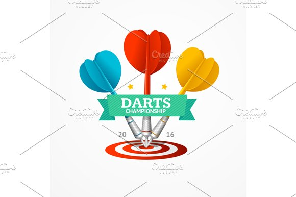 Darts Sign Set. Vector - Illustrations