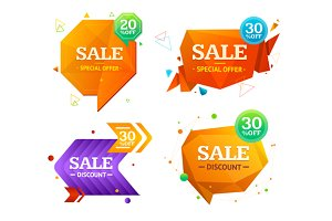 Geometry Sale Label Set. Vector