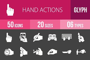 50 Hand Actions Glyph Inverted Icons