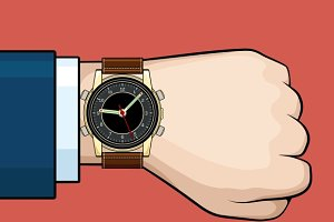 Businessman arm with hand watch