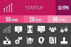 50 Startup Glyph Inverted Icons