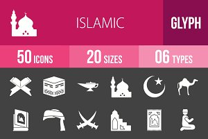 50 Islamic Glyph Inverted Icons