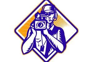Film  Crew Cameraman Holding Camera