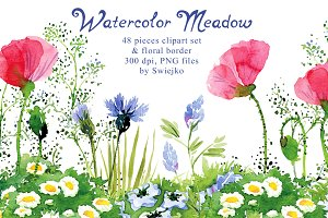 Watercolor Meadow clipart