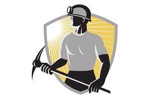 Coal Miner With Pick Ax Shield Retro