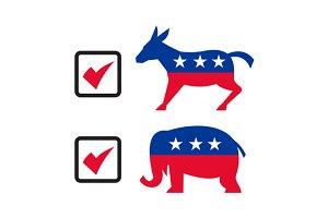 Republican Elephant Democrat Donkey