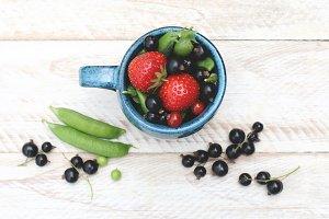 Summer berries and peas