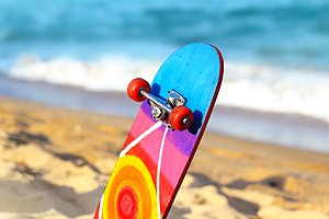 Skateboard on the beach