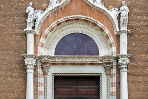 Decorated church doors in Venice