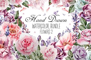 HandDrawn Watercolor Bundle FLOWERS2