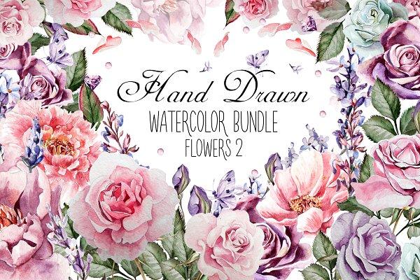 HandDrawn Watercolor Bundle FLOWERS…