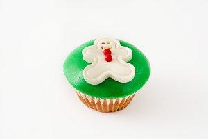 Christmas gingerbread man cupcake