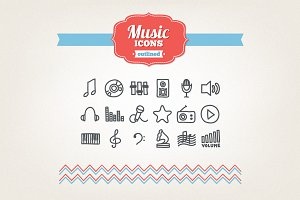 Hand drawn music icons