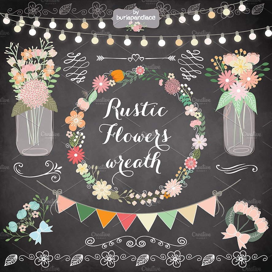 Rustic Retro Flower Wreath Clipart Illustrations Creative Market