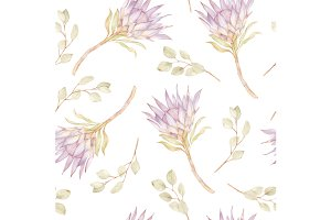 Seamless Kind Protea Pattern