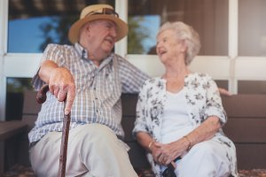 Loving elderly couple relaxing