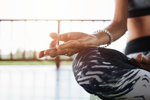 Woman meditating in the lotus