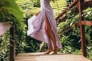 Female in dress walking