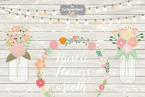 Rustic/Retro flower wreath clipart
