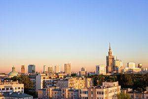 City of Warsaw at Sunset