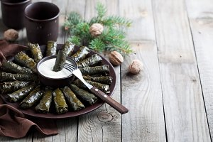 Traditional Caucasian dishes (Dolma), stuffed grape leaves with meat