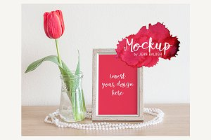 Red Tulip, Frame And Pearls Mockup