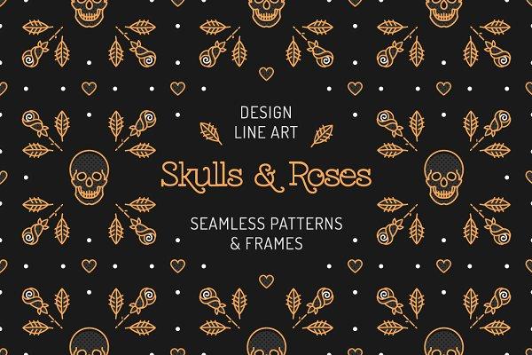 Skull & Roses: patterns, frames